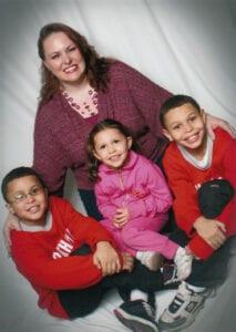 Felicia with her children.