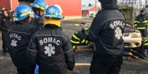 SOMAC volunteers conducting a motor vehicle accident training