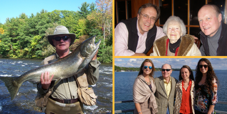 Collage photos of Bob Vitkus fishing and with friends and family